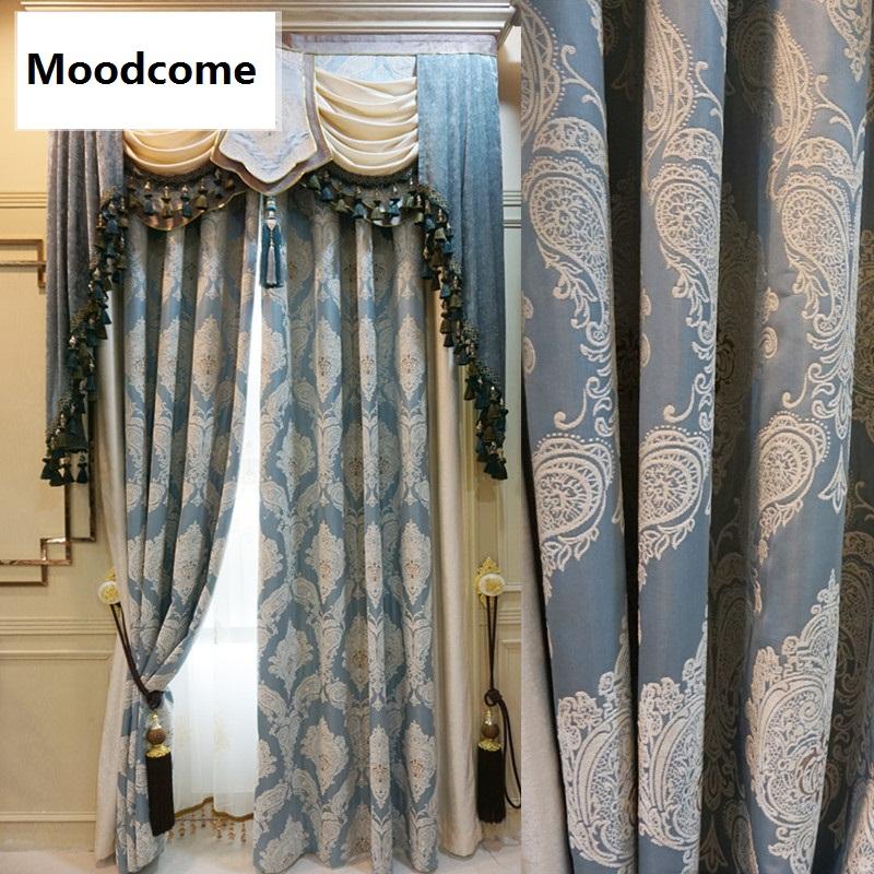 europeo de alta precisin cortina jacquard chenilla cortinas para sala de estar comedor