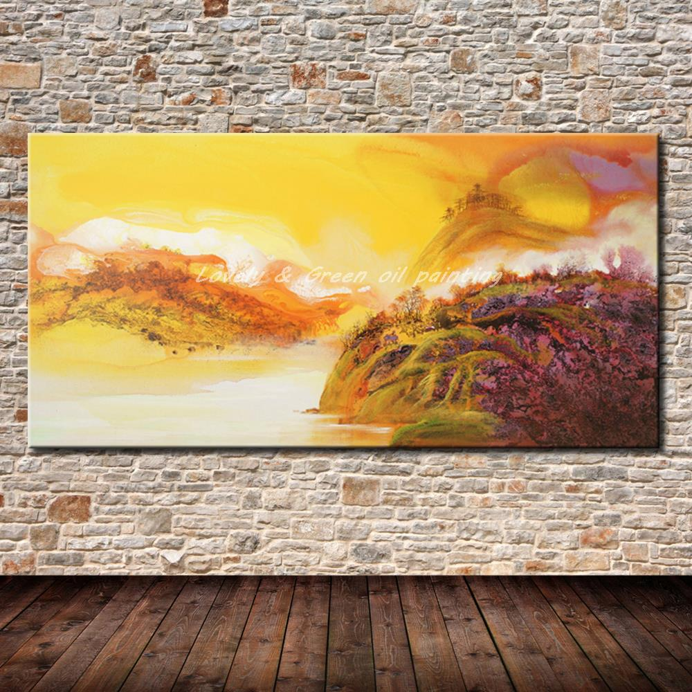 Decorative Art Picture Handpainted Modern Abstract Landscape Oil ...