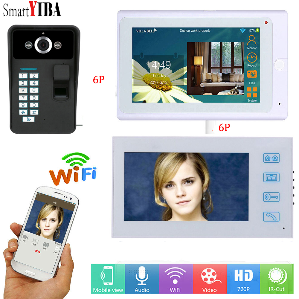 SmartYIBA 7WIFI APP Fingerprint Wireless/Wired Home Intercom RFID Unlock Video Access Control Doorbell Doorphone System 1000TVL платье ulla popken ulla popken ul002ewahig5