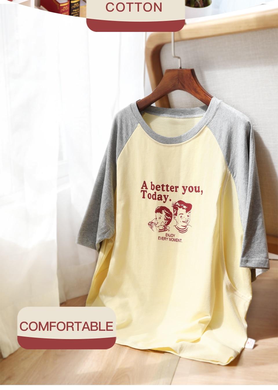 YATEMAO Moda Pijama De Maternidade Tops T-shirt