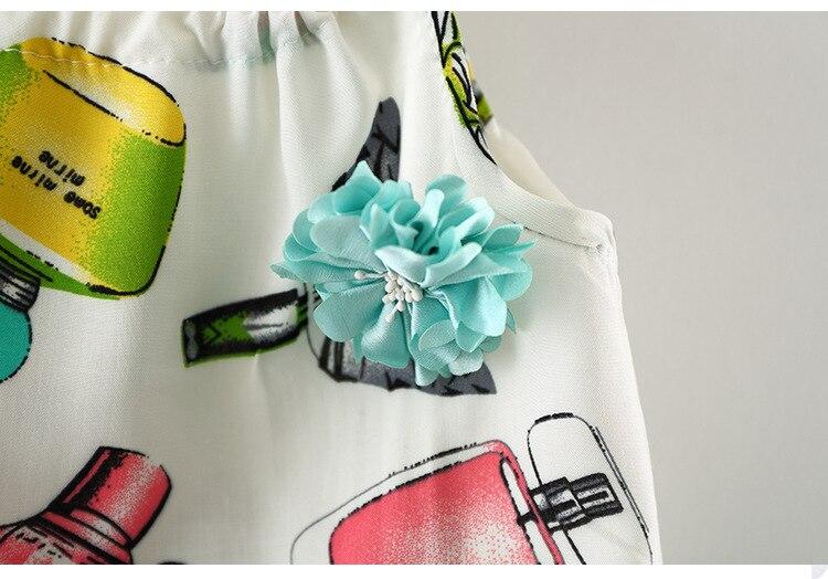 Bestime Baby Girl Clothing Set Infant Suit Perfume Bottle Print Sleeveless Girl Shirt Shorts Set Beach Suit Casual Kid Home Wear