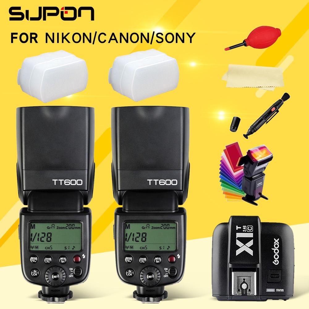 2 db Godox TT600 TT600S 2.4G vezeték nélküli kamera vaku Speedlite + X1T-N / C / S / F / O távadó a Nikon Canonhoz Sony Fuji Olympus