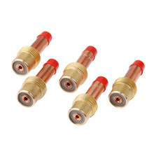 DRELD 5Pcs TIG Welding Brass Collets Body Stubby Gas Lens Connector 2.4mm 3/32 inches For WP-17/18/26 Torch Accessories