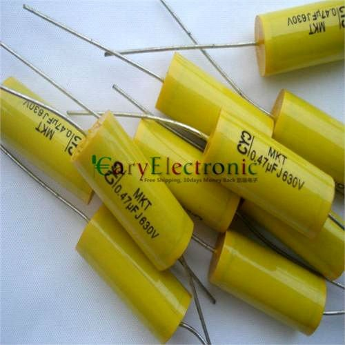 Wholesale 50pcs long leads yellow Axial Polyester Film Capacitors electronics 0.47uF 630V fr tube amp audio free shipping