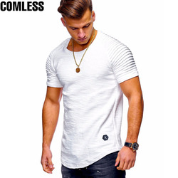 Summer Men's O-Neck Slim Fit Solid Color Short-sleeved T-shirt Striped Fold Raglan Sleeve Style T shirt Men Tops Tees M-XXXL