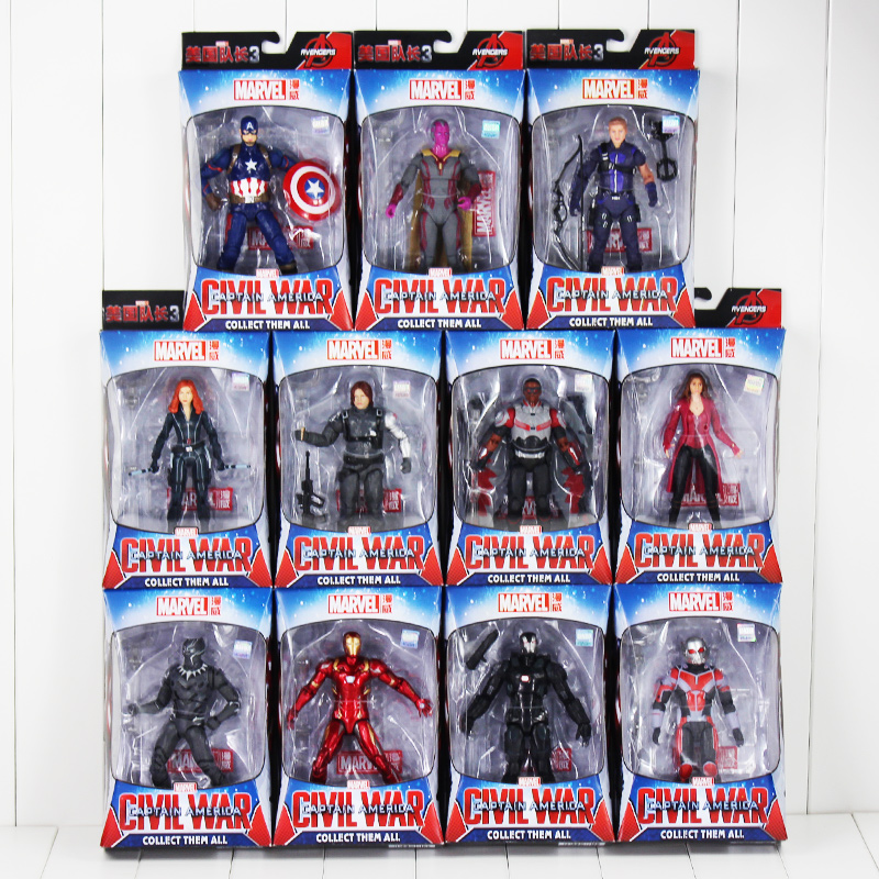 Captain America Black Panther Widows Iron Man Winter Soldier Vision Scarlet Witch Action Figure Toy Model Doll Gift for ChildrenCaptain America Black Panther Widows Iron Man Winter Soldier Vision Scarlet Witch Action Figure Toy Model Doll Gift for Children