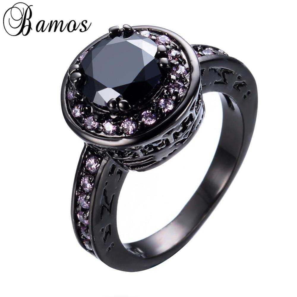 Бамос большой круглый черный циркон Кольца для Для женщин мужские черные Gold Filled Свадебная вечеринка Обручение Promise Ring любовь Jewelry rb0188