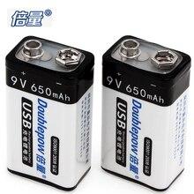 2 pcs! Doublepow 650 mAh 9 V LSD Li-ion Rechargeable Batterie USB De Charge avec Micro De Charge Interface pour Microphone Instrument