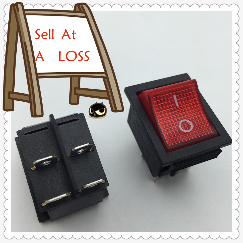 2pcs G126 RED LED Light 25*31mm SPST 4PIN ON/OFF Boat Rocker Switch 16A/250V 20A/125V Car Dash Dashboard Truck RV ATV Sell Loss