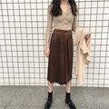 Falda de Terciopelo de la vendimia de Las Mujeres Cintura Elástico Larga Plisada Falda Media Falda Larga para la Primavera de Invierno de Terciopelo
