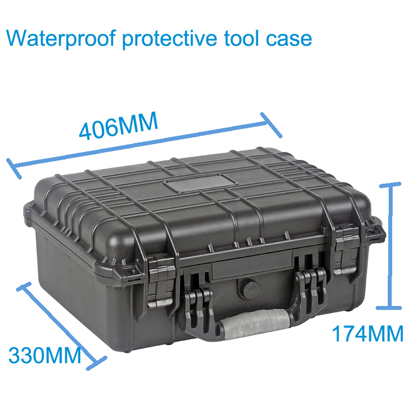 Hoogwaardige waterdichte gereedschapskoffer gereedschapskist Beschermende camerakoffer Instrumentenkoffer met voorgesneden schuimvoering 371 * 258 * 152 mm