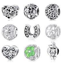 Модные шармы в форме сердца и цветов круглой формы, настоящие серебряные бусины 925 пробы, подходят к оригинальному браслету Pandora, браслеты для изготовления ювелирных изделий