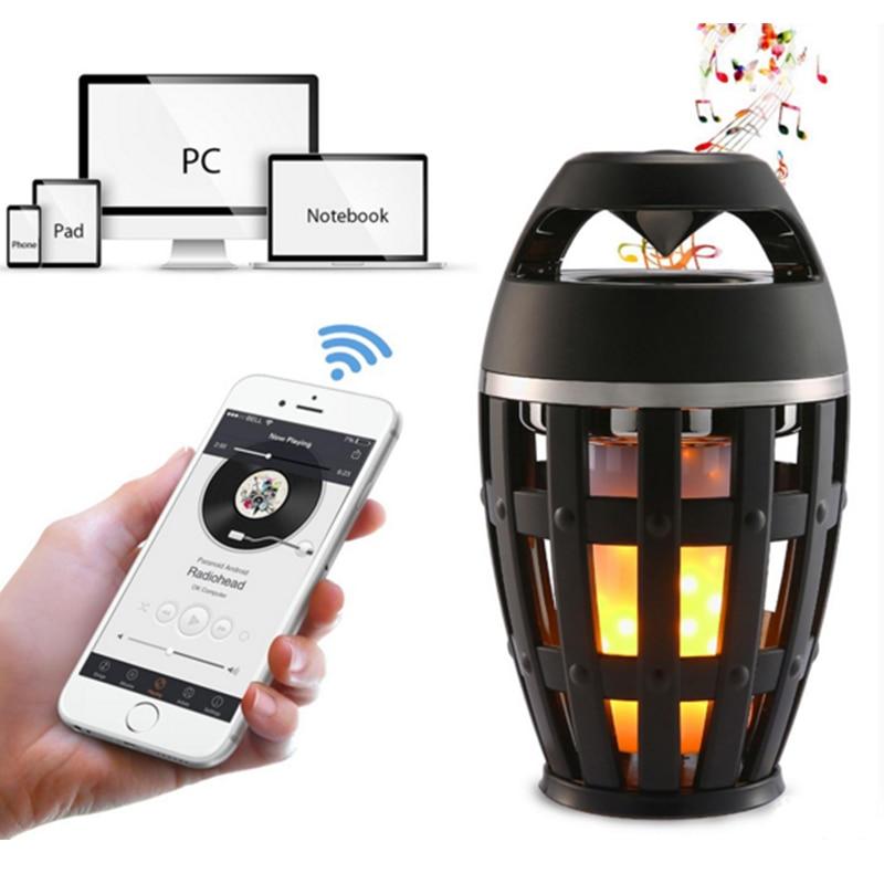 USB Led Flame Lights Bluetooth Speaker Outdoor Portable Led Flame Atmosphere Lamp Stereo Speaker