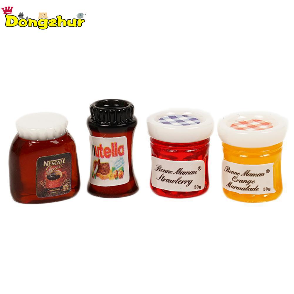 Dollhouse 4Pcs Set Kitchen Resin Jam Marmalade 1:6 Miniature Accessories