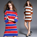 Simples stripe sweater dress branco caqui vermelho azul preto vestidos 2017 primavera novo estilo