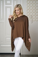 2019 Autumn Hooded Irregular T-shirt Women Solid Color Batwing Sleeve Casual  Tunic Tops Spring Female Tee