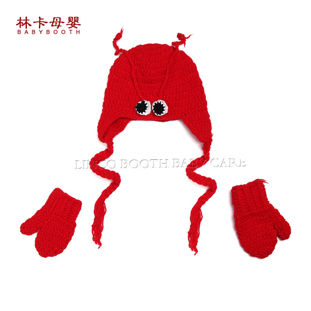 lobster style crochet newborn baby outfit hat glove knitted baby