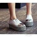 Oficina de la Señora Paja alpargatas Colorido Amplia Pie Zapatos de China Zapatos de Cuero Suave de La Pu Llanura Artwork Dos Desgaste Zapatos de Mujer