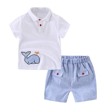 Cute Whale Kids Boys Clothes Sets Baby Boys Summer 2018 Clothing Suits White Short Sleeve T-shirts + Plaid Shorts Boys Clothing Sets