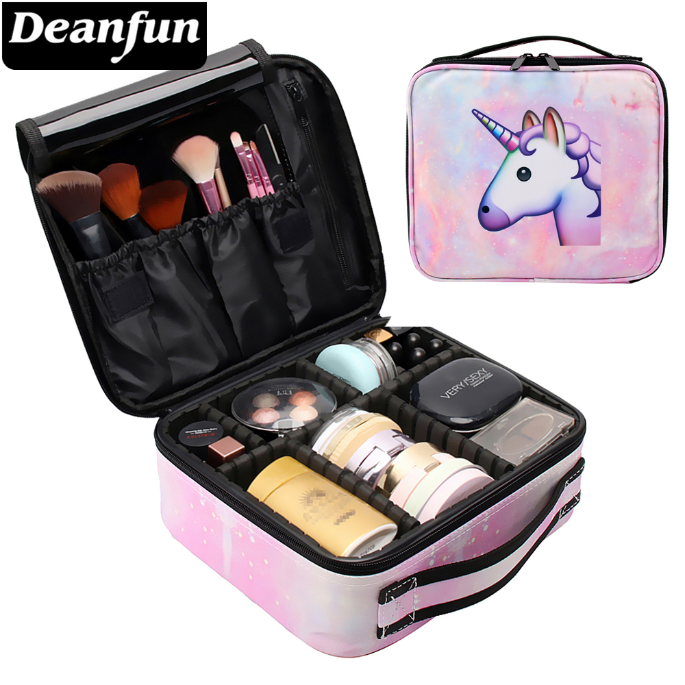 Deanfun Unicorn Makeup Case Multifunction Cosmetic Bag Pink Train Cases With Adjustable Dividers Waterproof Organizer 16003