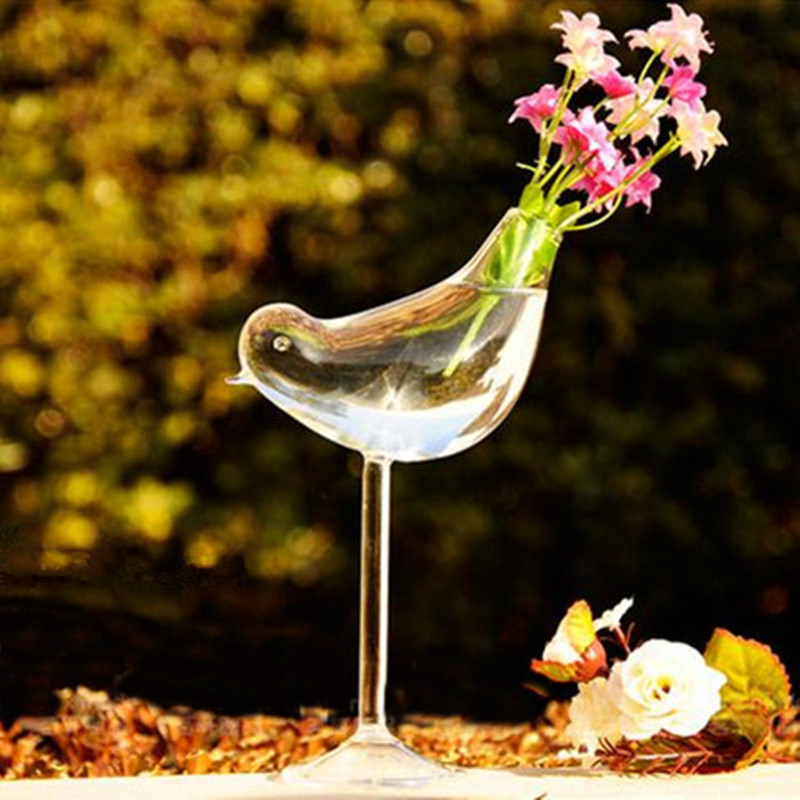 Creative tall bird vase glass Home Decoration hotel decor flower containers wedding decoration gift Couple gifts