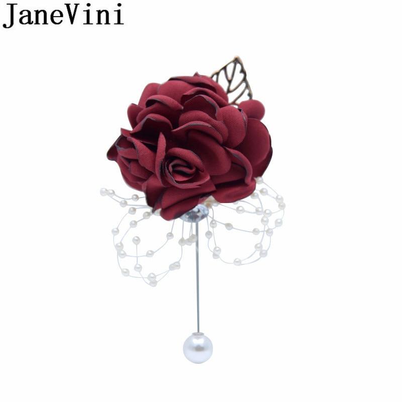 JaneVini Vintage Wedding Groom Corsages Crystal Pearls Burgundy Flowers Boutonniere Wedding Men Groomsmen Buttonhole Accessories