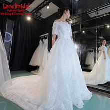 Luxury Ball Gown Cathedral Train Off Shoulder Half Sleeve Beaded Lace Wedding Dresses 2016 Bridal Gowns vestido de noiva XW159