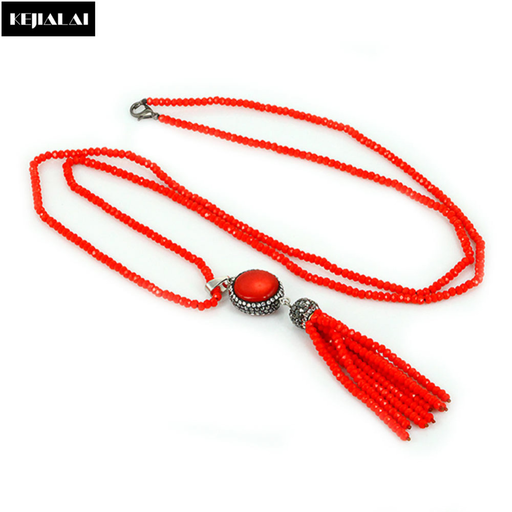 Fashion Exquisite Tassel Necklace for Women Glass Crystal ...