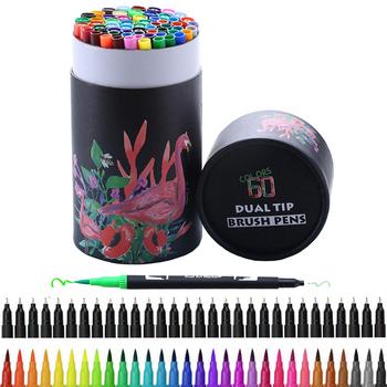60 sztuk kolory FineLiner rysunek malarstwo Art markery długopisy akwarela podwójna końcówka Brush Pen kaligrafia szkicowanie szkolne tanie i dobre opinie LISM CN (pochodzenie) 24 kolory XH005 60 kolory box Zestaw