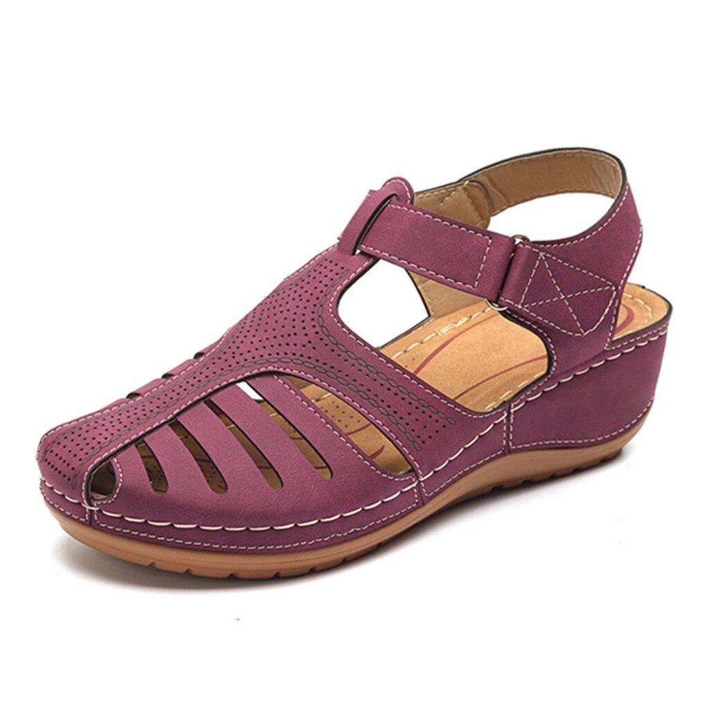HTB1l0rgewaH3KVjSZFjq6AFWpXal Women's Sandals Summer Ladies Girls Comfortable Ankle Hollow Round Toe Sandals Female Soft Beach Sole Shoes Plus Size C40#