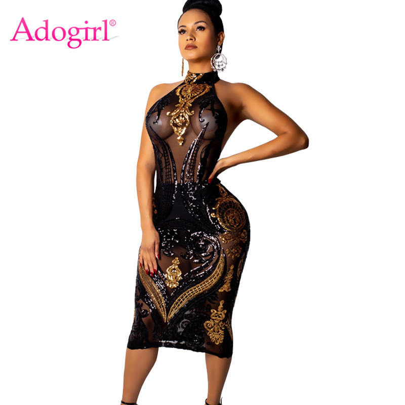 Adogirl Gold <font><b>Black</b></font> Sequins Sheer Mesh Bodycon <font><b>Dress</b></font> Sleeveless Halter Backless Sheath Midi Club Party <font><b>Dress</b></font> Female Bar Outfits image