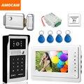 "7"" LCD Video Door Phone Intercom Doorbell System Kits Aluminum Alloy Panel ID Card+Exit Button+Electronic Door Lock+Power"