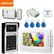 7″ Video Door Phone Intercom Doorbell System Aluminum Alloy Password Camera ID Card+Exit Button+Electronic Door Lock+Power