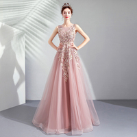 Pink Beading Embroidery Mesh Party Dress Women Sexy High Waist Sleeveless Long Dresses Elegant Applique Big Hemlines Maxi Dress