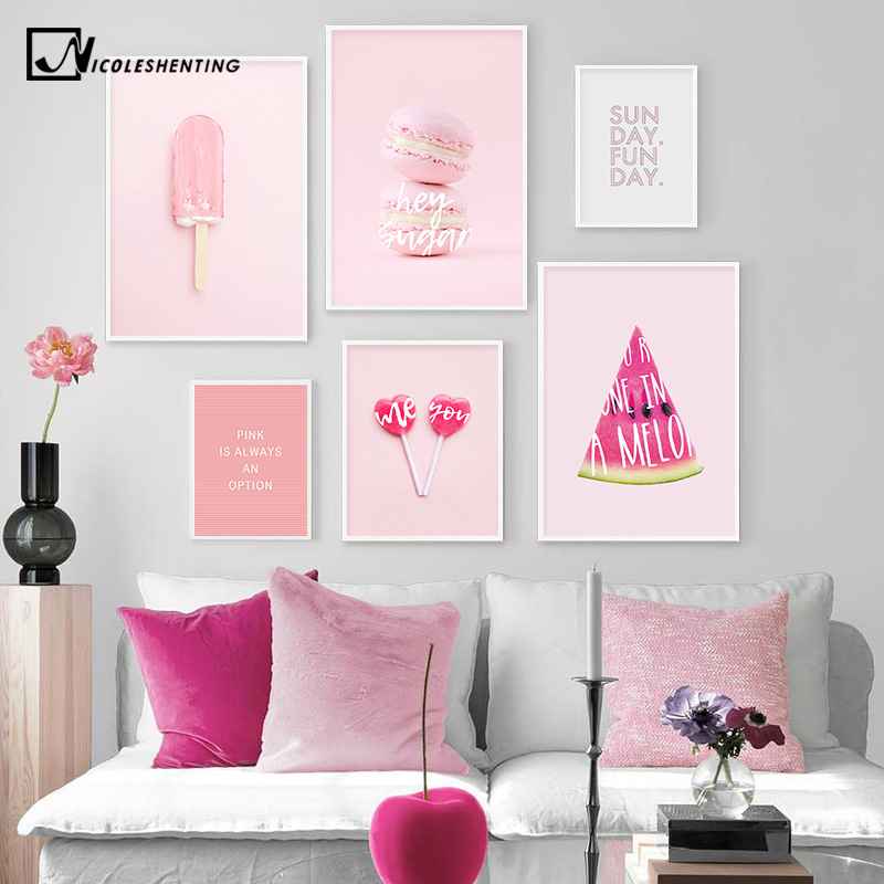 Pink Summer Candy Ice Cream Food Picture Fashion Nursery Poster Indie Pop Canvas Wall Art Print Painting Girls Room Decoration