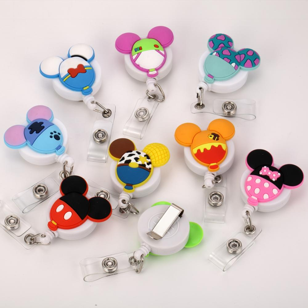 1pc Cartoon Character Colorful Retractable Pull Badge Reel Name Tag ID Card Badge Holder Reels For Kids