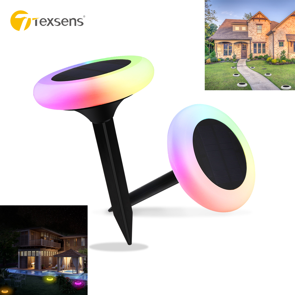 Texsens 8 Modes 1000mAh RGB Solar Power Ground Light IP65 Waterproof Garden Pathway Deck Lamp Home Yard Driveway Lawn Road LightTexsens 8 Modes 1000mAh RGB Solar Power Ground Light IP65 Waterproof Garden Pathway Deck Lamp Home Yard Driveway Lawn Road Light