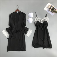 2 Pieces Sleepwear Summer 2019 V neck Dressing Gowns Women Satin Silk Sexy Robe & Gown Sets Female Lace Nightdress With Chest Pa