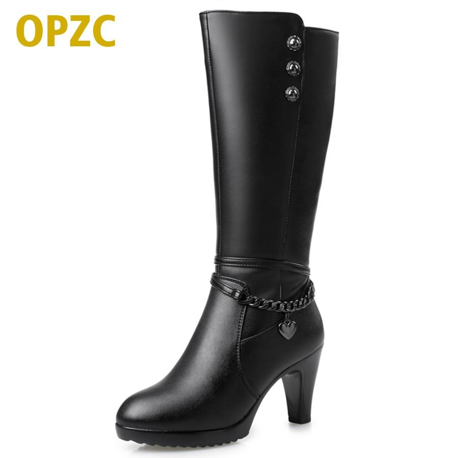 حذاء امرأة ، أحذية عالية الكعب 2019 جلد طبيعي للدراجات النارية. الأحذية الصوف السميك الشتاء الدافئ. أزياء أنثى الماسورة طويلة