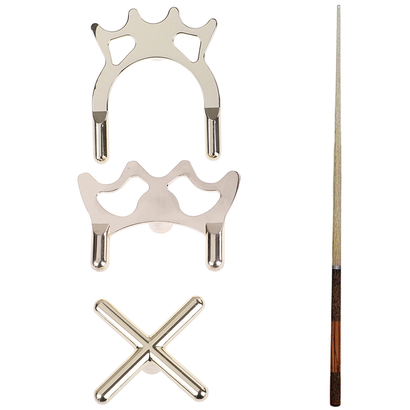 2PCS Snooker Billiards Copper-Plated Metal Cue Rack Bridge Billiards Cross Rod Holder Pool Cue Stick Frame Pole Rack