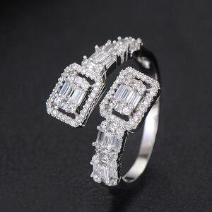 Image 4 - GODKI Conjunto de anillo de compromiso de lujo para mujer, conjunto de anillo de brazalete juegos de joyas para mujer, brincos para as mulheres 2020
