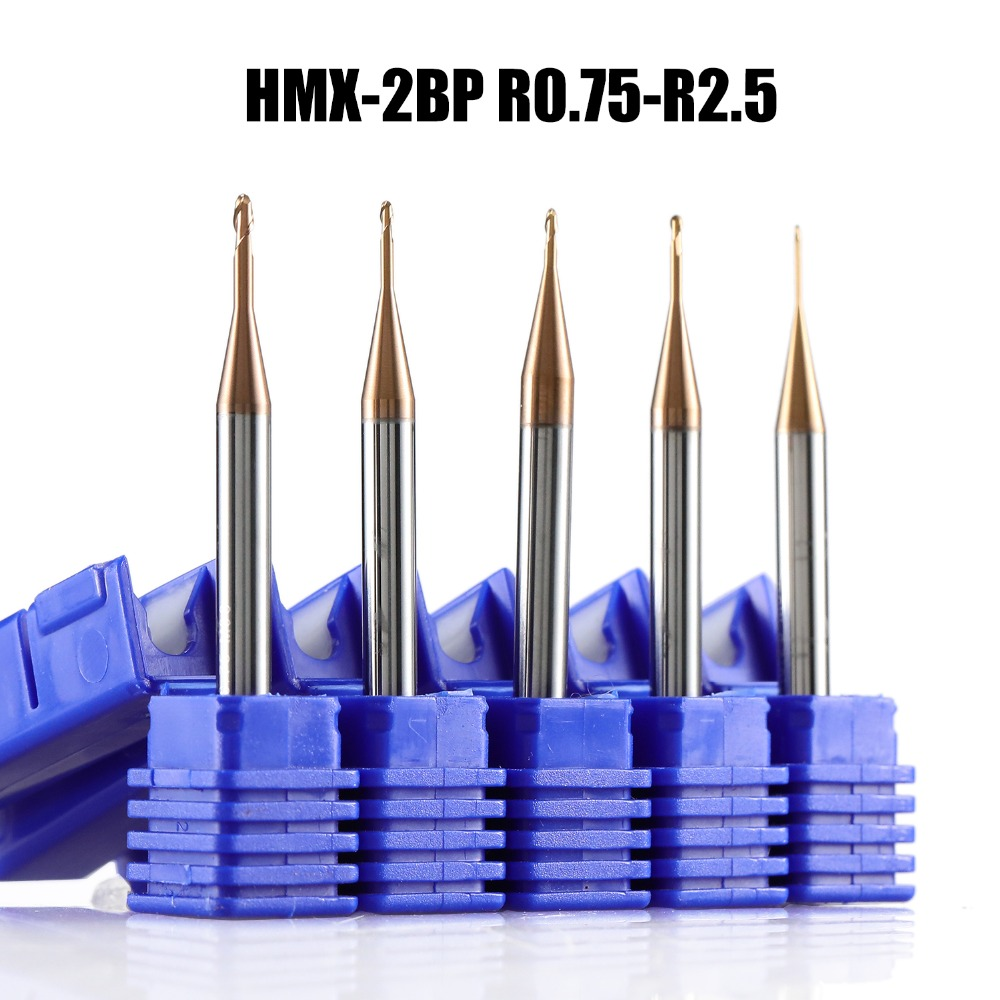 HMX-2BP R0.75-R2.5 solid carbide end mill 2 flute ball nose long neck cnc milling cutter cutting tool for hardened steel HRC68 цена