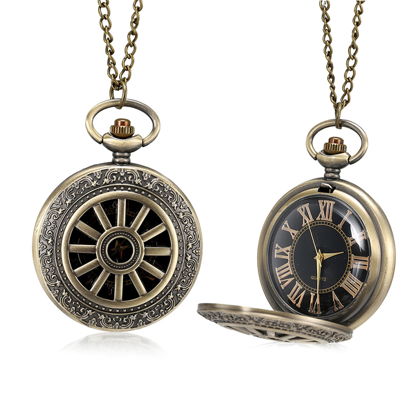 1 Pcs Bronze Quartz Pocket Watch Roman Numerals Dial Hollow Wheel Case With Chain LL@17