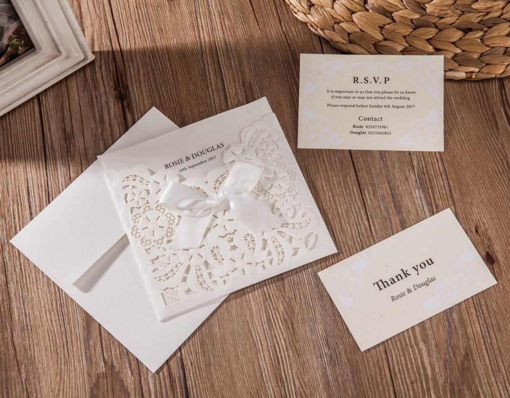 100 개/몫 레이저 컷 결혼식 초대장 카드 bowknot 진주 흰색 빈 꽃 rsvp 및 감사 카드 사용자 정의 cw6112-에서카드 & 초대장부터 홈 & 가든 의  그룹 2