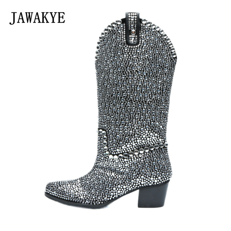 2018 Handmade Rhinestone Over The Knee Boots Woman Pointed Toe Heel Boots Woman Fashion Bling Bling Long Boots new design women fashion pointed toe bling bling over knee rhinestone boots crystal long high heel boots luxury thin heel boots