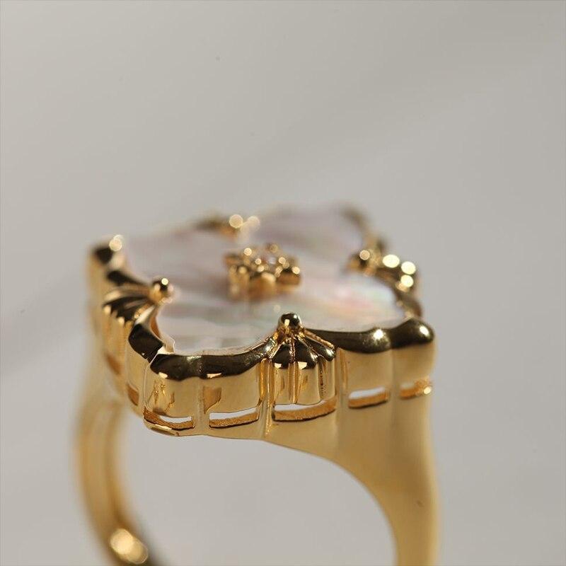 CMajor S925 Серебряные Ювелирные изделия Итальянский стиль белая оболочка четырехлистный клевер винтажные Модные кольца для женщин - 4