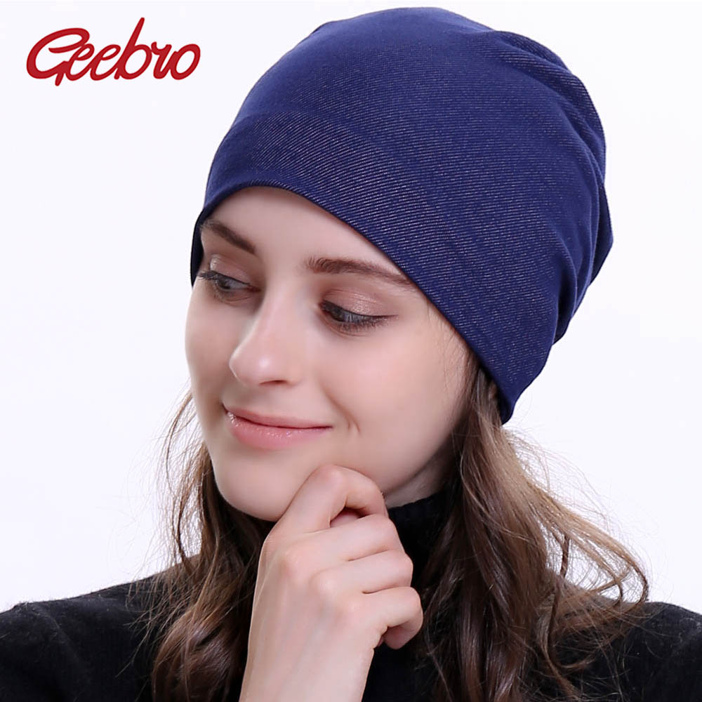 Geebro Women's   Beanie   Hat 2018 New Plain Cotton Jean Slouchy   Beanie   for Women Knitted Hats Ladies Denim   Skullies     Beanies   Cap