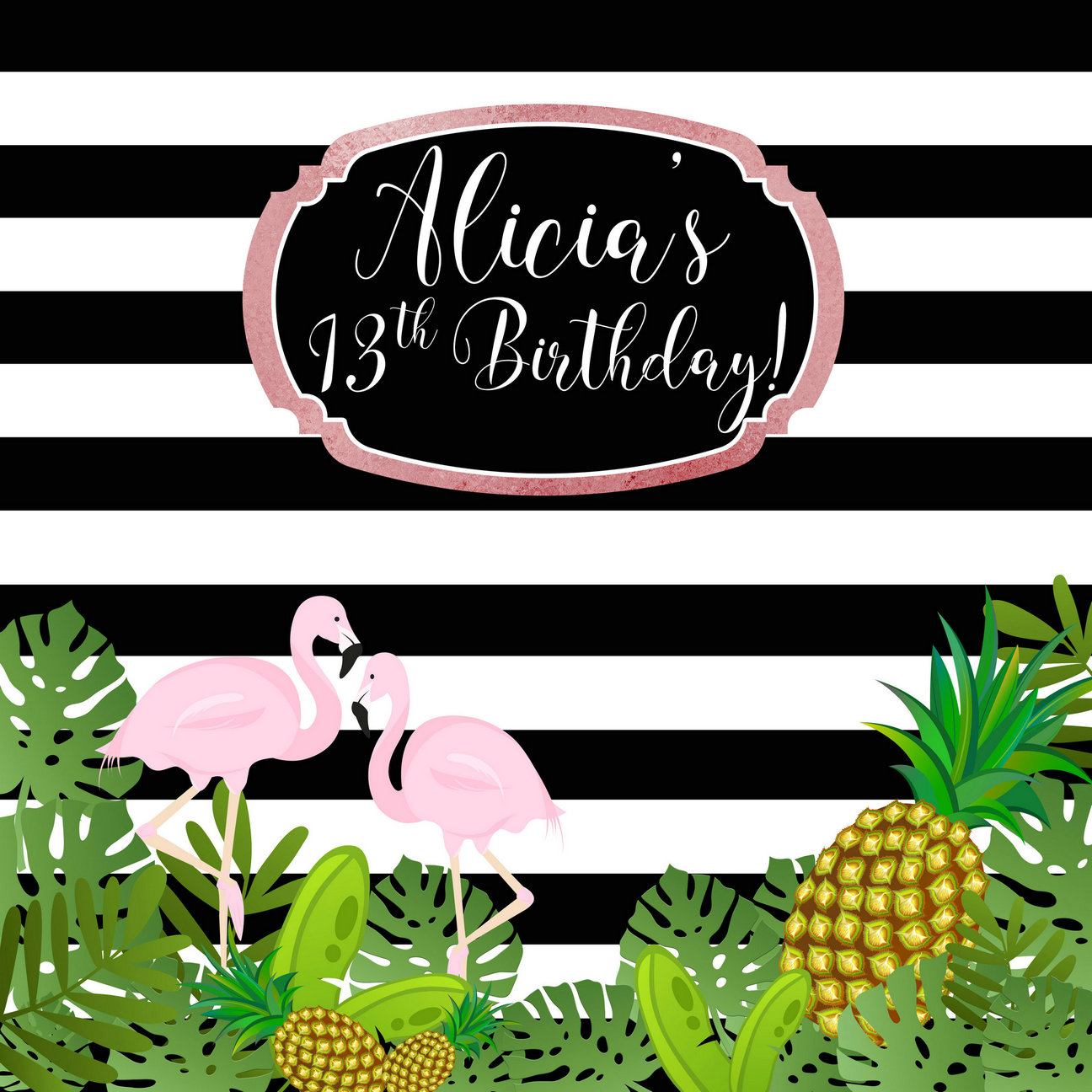 custom Flamingo Paradise Pineapple Leaves 13th Birthday Black And White Striped backgrounds Computer print party backdrop