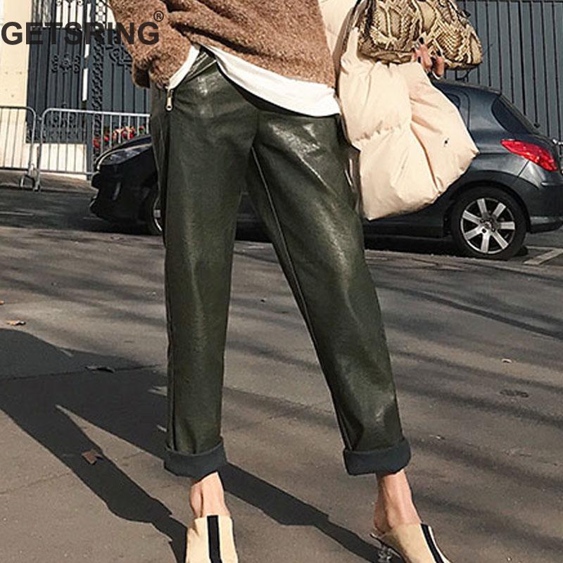 GETSRING femmes pantalon taille haute PU cuir mode tout Match Long pantalon polaire épaissi loisirs lâche pantalon hiver
