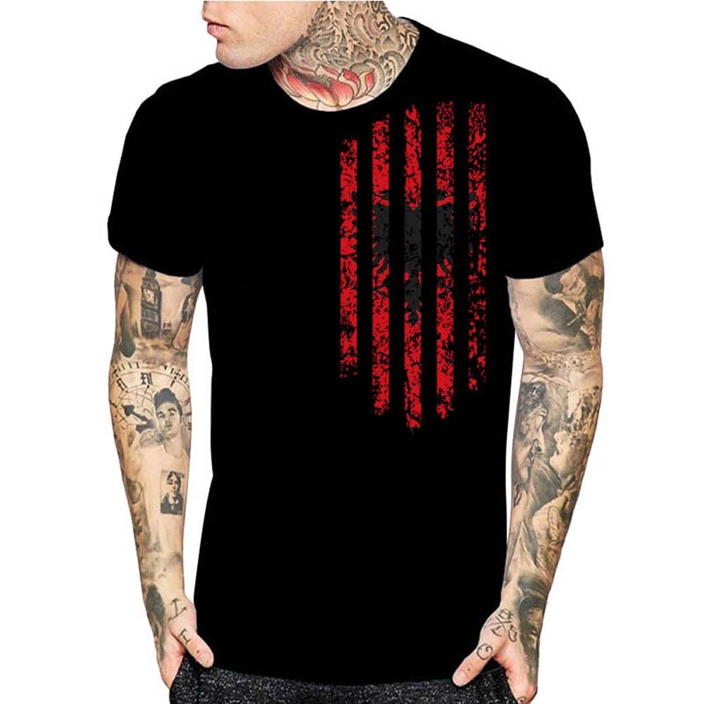 Albania Black T Shirt Print Mens Black White Summer Top T-Shirt Fashion Tops Christmas Gift Shirts Size Men'S High Quality Tees